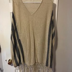 Sweaters - Knit poncho style sweater with fringe